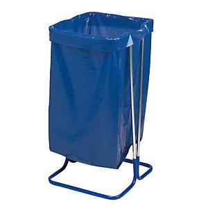 Support sac sur pieds 110 L acier cadmié bleu