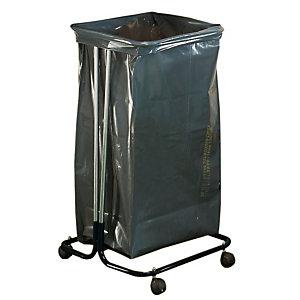 Support sac sur roulettes 110 L acier cadmié noir