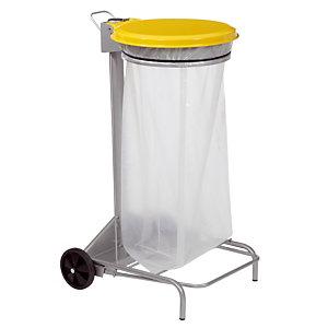 Support sacs mobile à pédale 110 L jaune