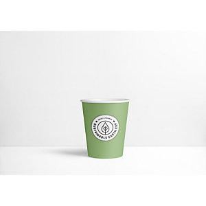 Sustainable Earth by Staples Bicchieri di carta usa e getta biodegradabili per bevande, Verde con logo stampato, 250 ml