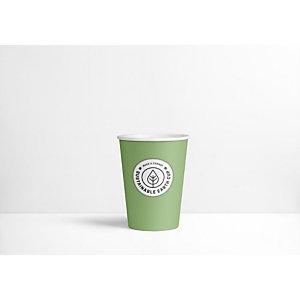 Sustainable Earth by Staples Bicchieri di carta usa e getta biodegradabili per bevande, Verde con logo stampato, 300 ml
