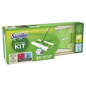 Swiffer Kit de démarrage pour balai 2-en-1 avec 8 lingettes sèches + 3 lingettes humides