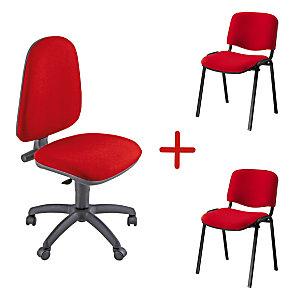 Swing, Sedia operativa con 2 sedie attesa impilabili, Tessuto, Rosso