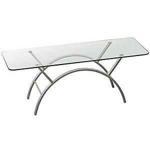Table basse Eva - plateau Verre - pieds Gris - 122 x 51 cm