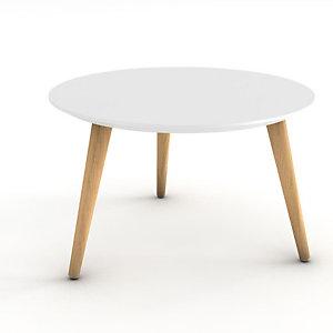 Table basse Marit, plateau rond laqué blanc, 3 pieds bois naturel