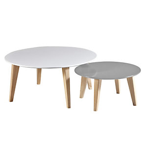 Table basse ronde Elias - Lot de 2 tables - Blanc / Taupe