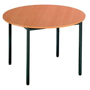 Table Budget Ronde - Ø 110 cm - Plateau Hêtre - pieds Gris foncé