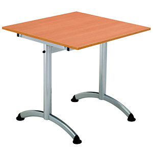 Table Cafeteria L. 120 x P. 80 cm, plateau Hêtre, piétement Aluminium