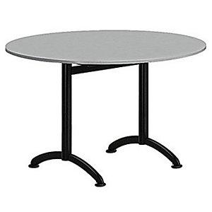Table Cafeteria ronde diamètre 120 cm, plateau Gris, piétement Noir