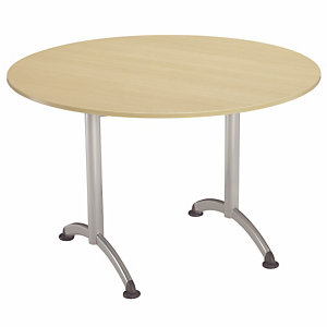 Table Cafeteria ronde diamètre 120 cm, plateau Hêtre, piétement Aluminium