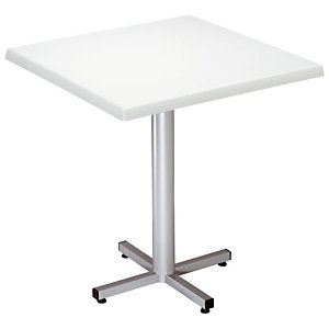 Table Coffee - Plateau Blanc - Pied central finition Aluminium