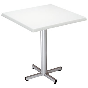 Table Coffee - Plateau Blanc - Pied central finition Aluminium