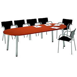 Table direction - CONGRES - Ovale -  Merisier - pieds Gris Aluminium