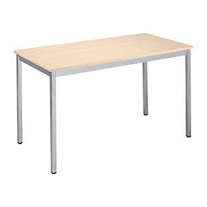 Table Domino tendance Rectangle - L. 120 x P. 60 cm - Plateau Erable - Pieds Chrome