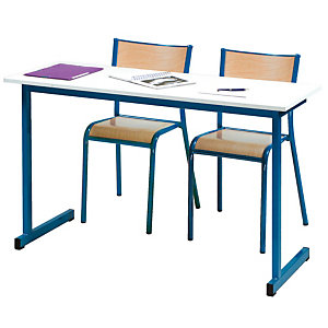 Table formation biplace pieds bleus
