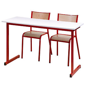 Table formation biplace pieds rouges