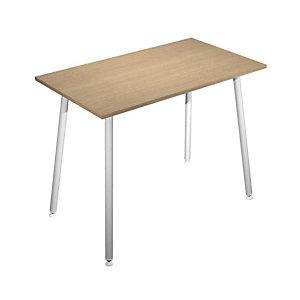 Table haute Halden H. 110 x L.140 x 80 cm plateau Chêne, pieds inclinés métal Blanc