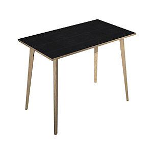 Table haute Halden H. 110 x L.140 x 80 cm plateau Noir, pieds inclinés en bois Chêne