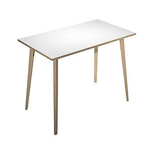 Table haute Halden H. 110 x L.160 x 80 cm plateau Blanc, pieds inclinés en bois Chêne