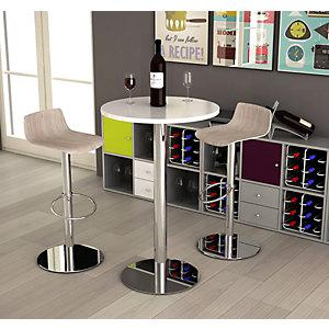 Table mange-debout diamètre 70 cm H.106 cm plateau Blanc, pied Chromé