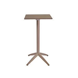 Table mange-debout Quatro carrée ht 110 cm - Usage extérieur - Plateau basculant en polypropylène 60 x 60 cm - Taupe