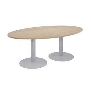 Table modulaire Ovale - Piétement tulipe Aluminium - Plateau Chêne  L.200 X P.120 cm
