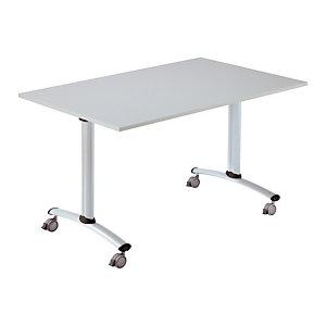 Table à plateau basculant Droit - L. 120 x P. 80 cm - Plateau Gris - pieds Gris