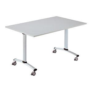 Table à plateau basculant Droit - L. 160 x P. 80 cm - Plateau Gris - pieds Aluminium