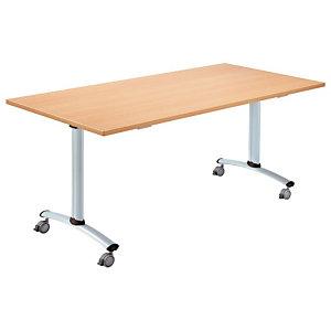 Table à plateau basculant Droit - L. 160 x P. 80 cm - Plateau Hêtre - pieds Aluminium