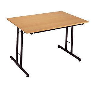 Table pliante 120 x 80 cm plateau hêtre/pieds noir