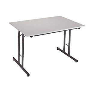 Table pliante 160 x 80 cm plateau gris/pieds gris