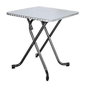 Table pliante LORRAINE Inox - L. 70 x P. 70 cm, plateau  , piétements Noir