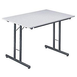 Table pliante multiples usages Rectangle - L. 120 x P. 80 cm - Plateau Gris/Gris - pieds Gris
