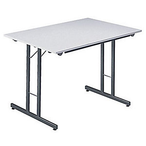 Table pliante multiples usages Rectangle - L. 120 x P. 80 cm - Plateau Gris/Gris - pieds Gris