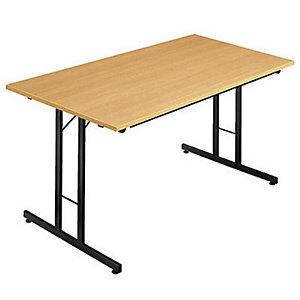 Table pliante multiples usages Rectangle - L. 120 x P. 80 cm - Plateau Hêtre - pieds Noir
