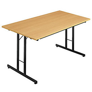 Table pliante multiples usages Rectangle - L. 120 x P. 80 cm - Plateau Hêtre - pieds Noir