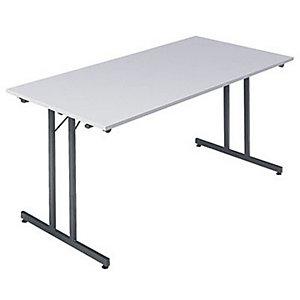 Table pliante multiples usages Rectangle - L. 160 x P. 80 cm - Plateau Gris/Gris - pieds Gris