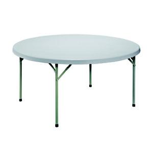 Table pliante polyéthylène ronde diamètre 150 cm - Plateau gris - Pieds gris