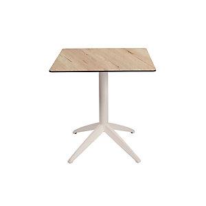 Table pliante Quatro à plateau basculant carrée 70 x 70 cm, en polypropylène usage extérieur - Chêne