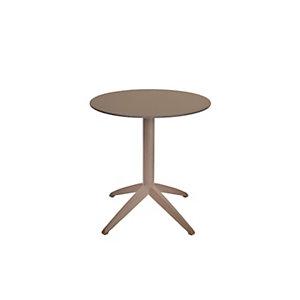 Table pliante Quatro à plateau basculant rond 70 cm en polypropylène usage extérieur - Taupe