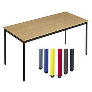 Table Polyvalente Rectangle - L. 140 x P. 70 cm - Plateau Hêtre - pieds Noir