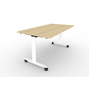 Table rabattable PRATIC à roulettes 140 X 80 plateau Chêne, piètement Blanc