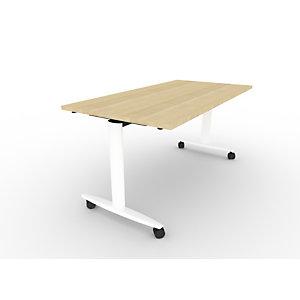 Table rabattable PRATIC à roulettes 160 X 80 plateau Chêne, piètement Blanc