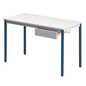 Table rectangulaire 120 x 60 cm plateau gris / pieds bleus