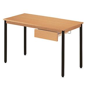 Table rectangulaire 140 x 70 cm plateau hêtre / pieds noirs