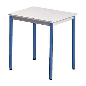 Table rectangulaire 70 x 60 cm plateau gris / pieds bleus