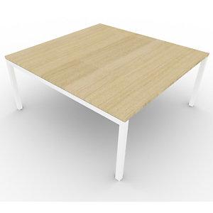 Table de réunion plateau carré - gamme ARCHE - L.160 x P.160 x H.72 cm - plateau Chêne - pieds Blanc