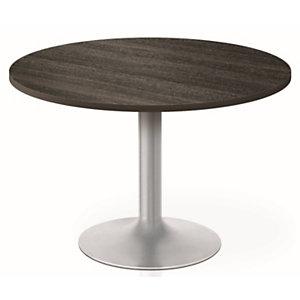 Table de réunion ronde Moka  100 cm - Plateau Chêne café - Pied fût central Blanc