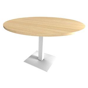 Table de réunion ronde Moka - Ø 100 cm - Plateau Chêne clair , Pied fût central Blanc