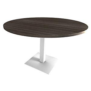 Table de réunion ronde Moka - Ø 100 cm - Plateau Chêne royal brun , Pied fût central Blanc